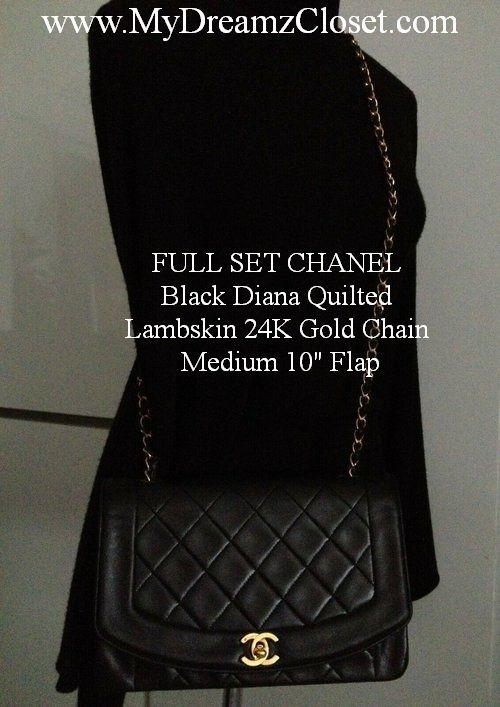 "FULL SET CHANEL Black Diana Quilted Lambskin 24K Gold Chain Medium 10"" Flap"