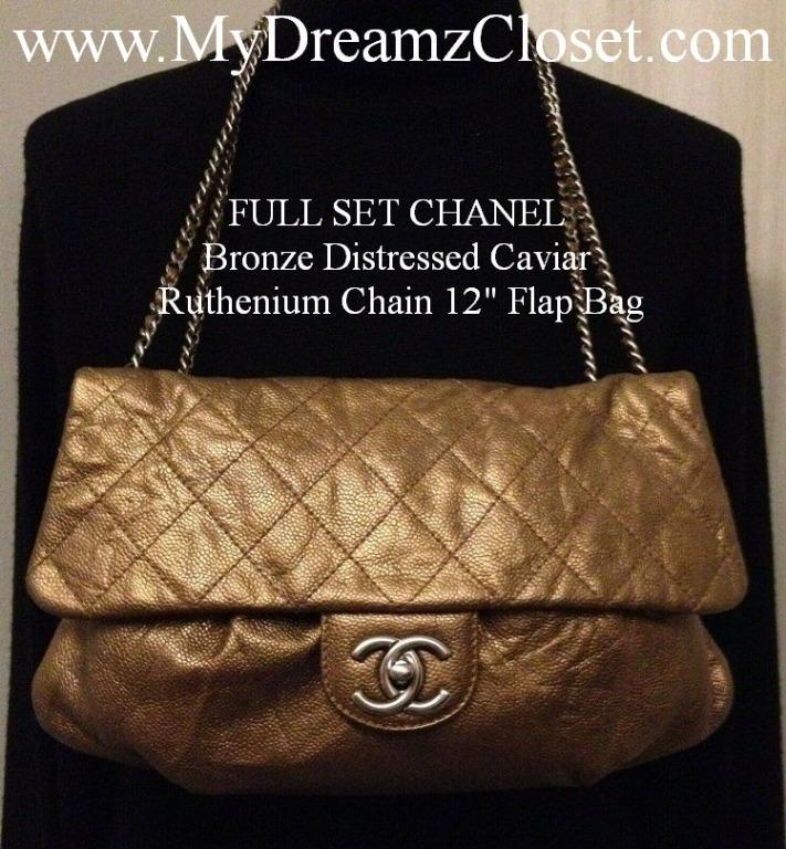 "FULL SET CHANEL Bronze Distressed Caviar Ruthenium Chain 12"" Flap Bag"