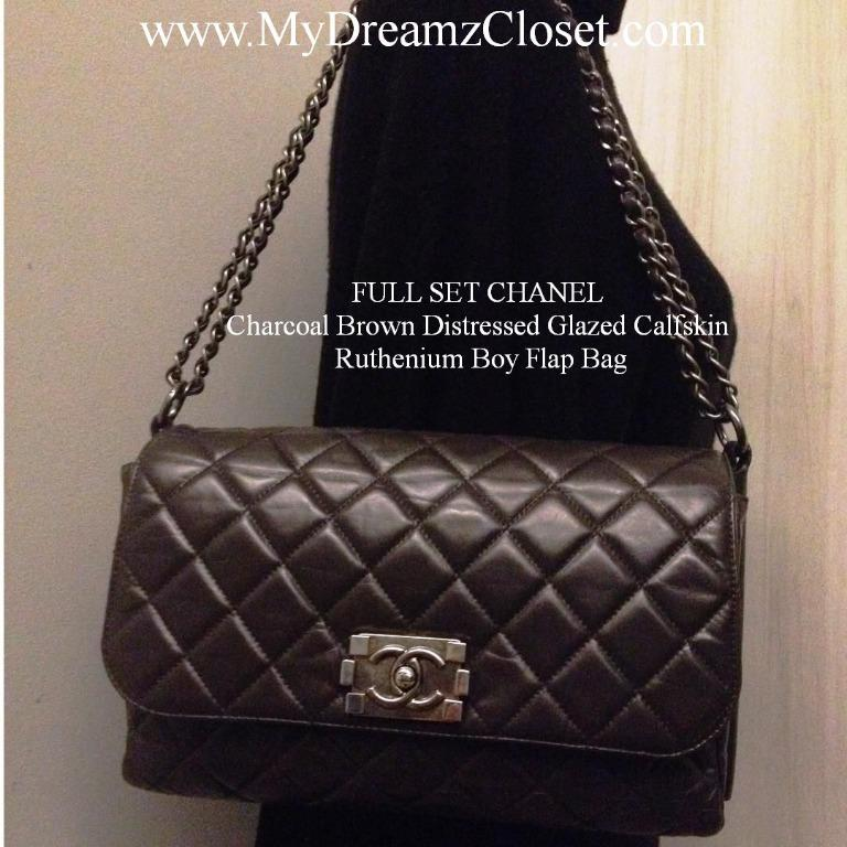 FULL SET CHANEL Charcoal Brown Distressed Glazed Calfskin Ruthenium Boy Flap Bag