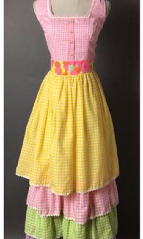 Gingham Summer Spring Race Racing Garden Party Tiered Vintage Dress 70s 80s