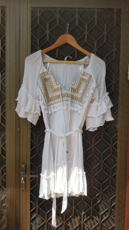 INDIKAH White Mini Dress with Beige Gold Beaded Panel Tie Waist Wrap Tigerlily