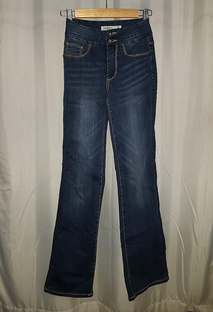 Just Jeans faded blue flare boot cut high rise jeans
