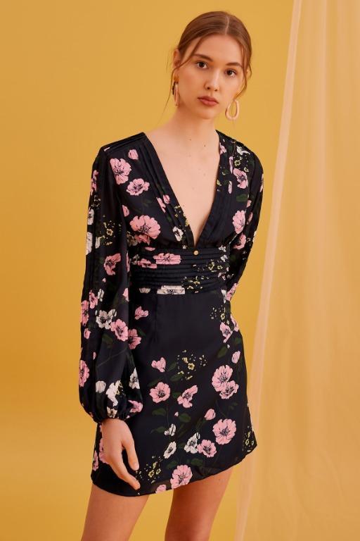 KEEPSAKE Darkness Long Sleeve Dress Fit Flare A Line Bell Sleeve Floral Mini