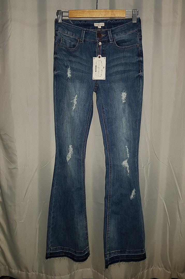 Life and Style Blue Distressed Ripped Denim Blue Flare Jeans