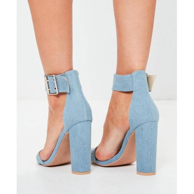 MISSGUIDED Light Blue Denim Heels Buckle Rivet Detail Thick Heel Public Desire Kookai Windsor Smith Steve Madden