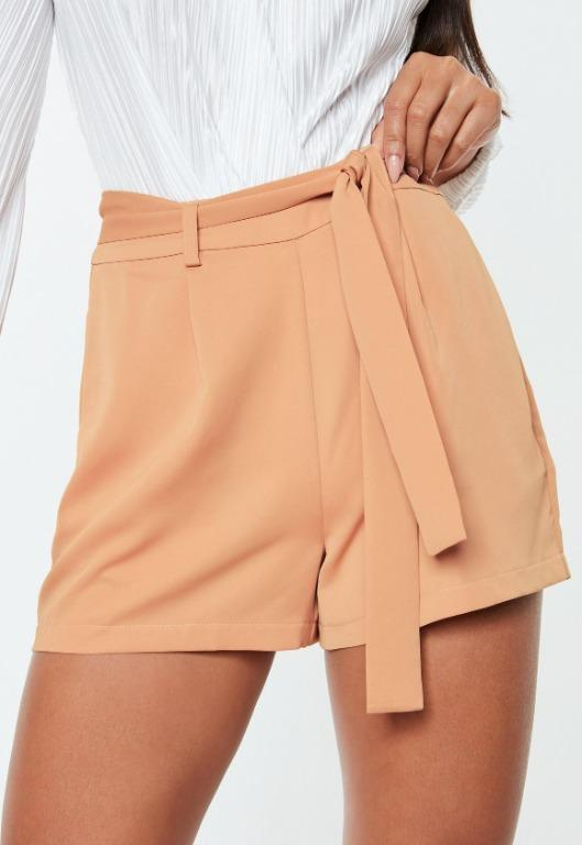 MISSGUIDED Tie Waist Shorts Tailored Camel Brown Tan Nude High Waisted Belted Meshki Kookai Cue