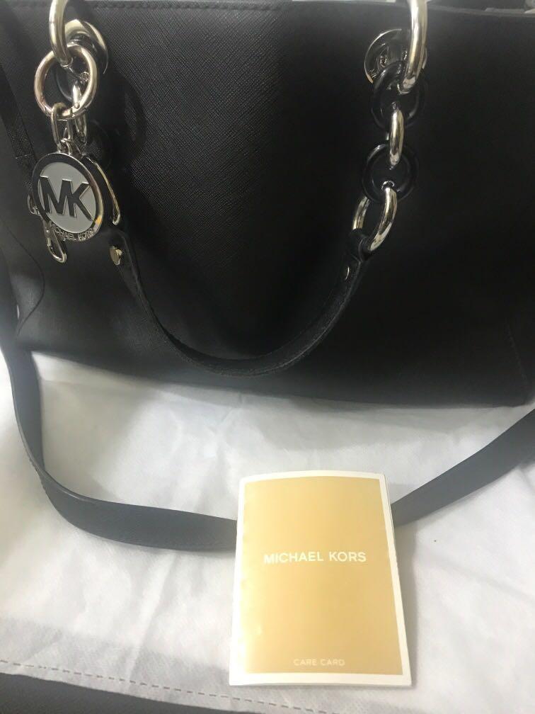 MK Cynthia Saffiano Leather Satchel with silver hardware (Genuine)-Christmas promo RM650