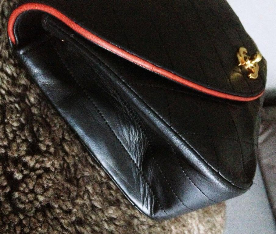 RARE CLASSIC CHANEL Black Quilted Lambskin CC 24K Gold Chain Shoulder Flap Bag