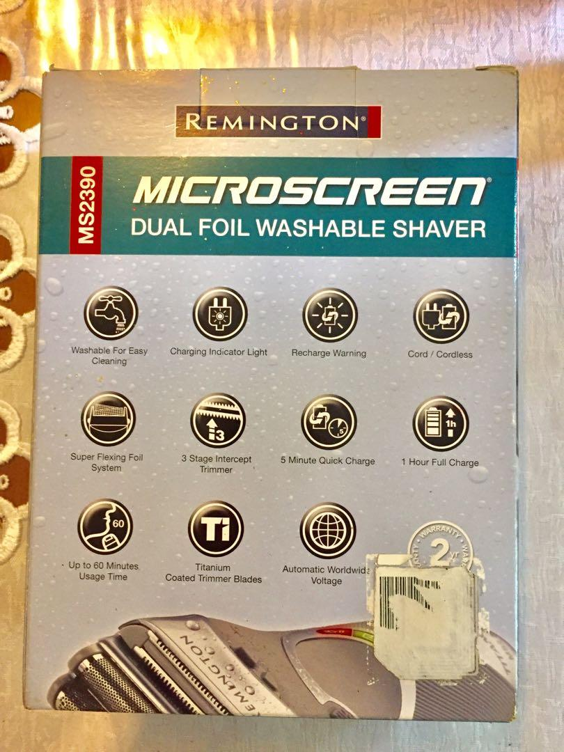 Remington MS2390 microscreen dual foil washable shaver.