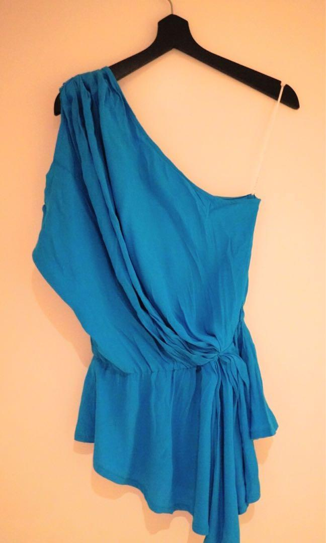 Sheike One-Shoulder Blue Top Size 8 (New With Tags)