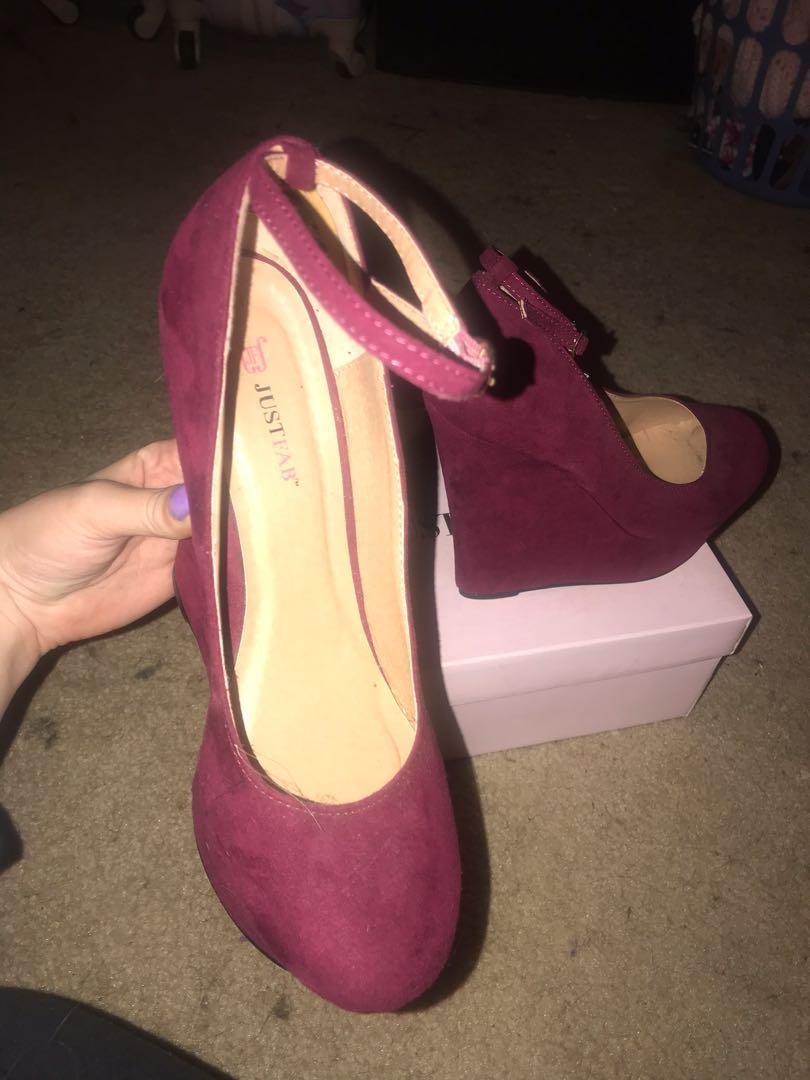 "Size 9. 5.5"" tall burgundy wedge heels with maryjane ankle strap"