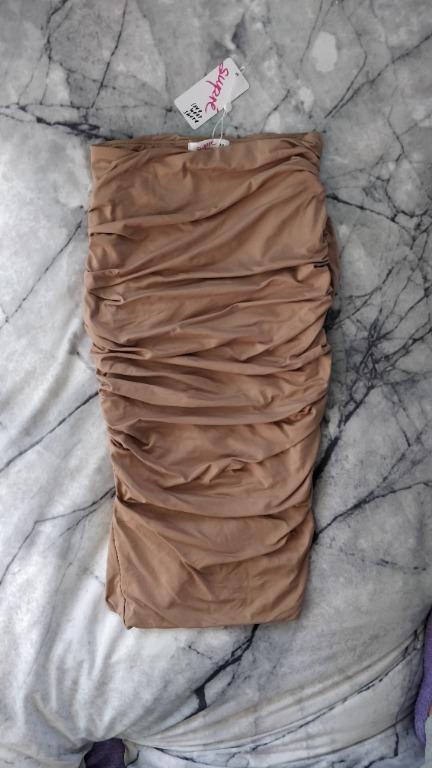 SUPRE Nude Midi Skirt Ruched Sides Tight Bodycon Tan Camel Kookai Sheike Meshki
