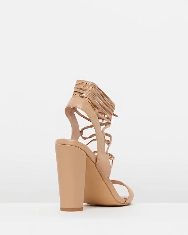 THE ICONIC X DAZIE Sienna Lace-Up Heels Nude Beige Strappy Block Heel Leather Windsor Smith Novo Aldo