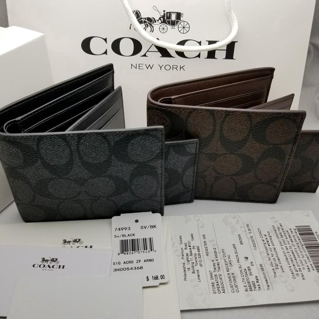 Today's specials COACH F74993 Men's Wallets Fold Over Purses Short wallet (Card Wallet+Wallet)