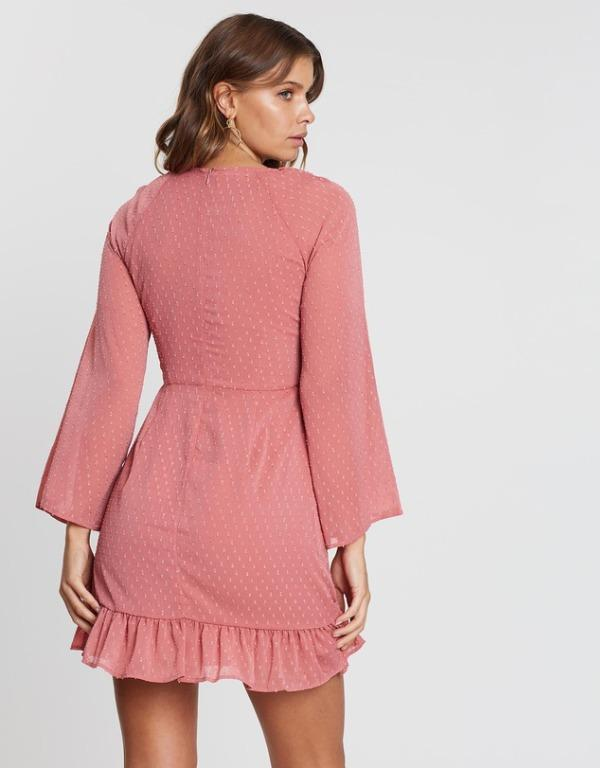 WISH Darcy Dress Rose Pink Floaty Mini Bell Sleeves Dobby Mesh The Iconic Tigermist
