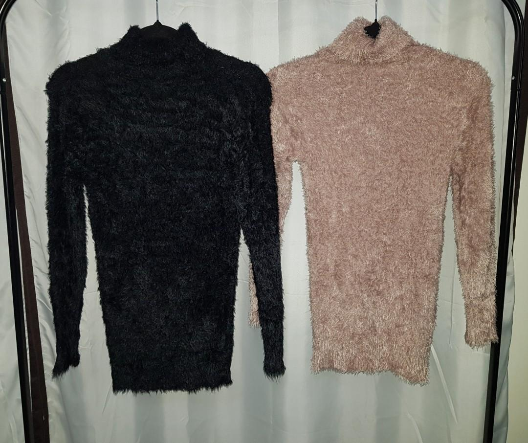 Women's Fitted Fluffy Turtle Neck Jumper Black Salmon