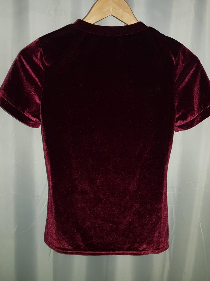 Women's Size S Plum Purple Velvet Stretchy Tshirt Top