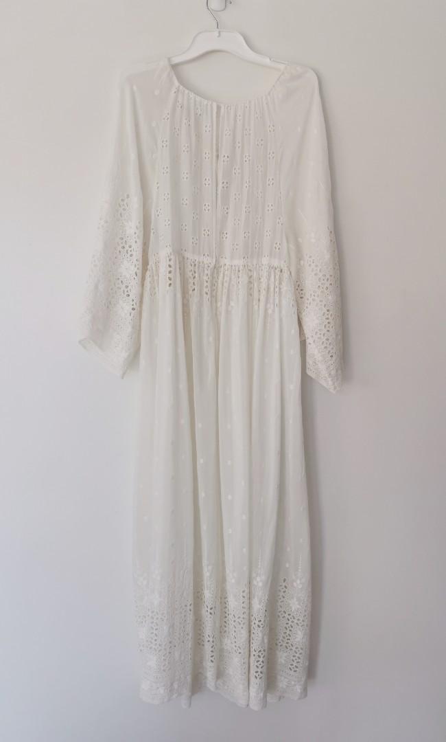 Zimmermann Harlequin Broderie Silk-Cotton Dress in White - Size 1