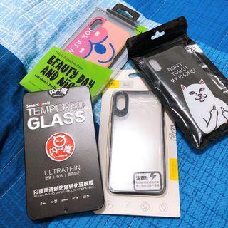 iphone X 保護貼+手機殼 四個