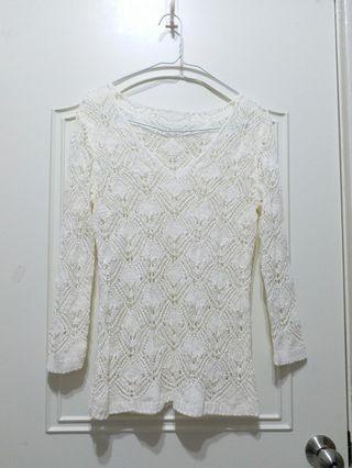 米白編織罩衫 外搭罩衫 非毛線衣 #出清2019