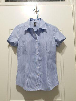 近全新 OL 藍條紋女襯衫 面試襯衫 小版型 合身襯衫  #出清2019