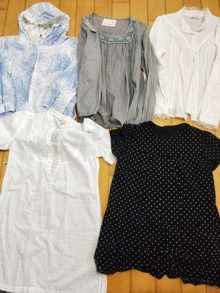 五件只要100女裝襯衫 連帽襯衫小外套 白色公主襯衫 黑色點點娃娃罩衫all for100