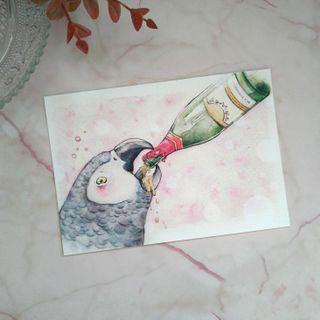 灰鸚鵡明信片