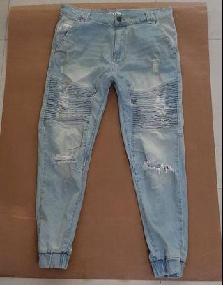 澳洲品牌全新NXP 男淺藍色破壞款縮口牛仔褲W34