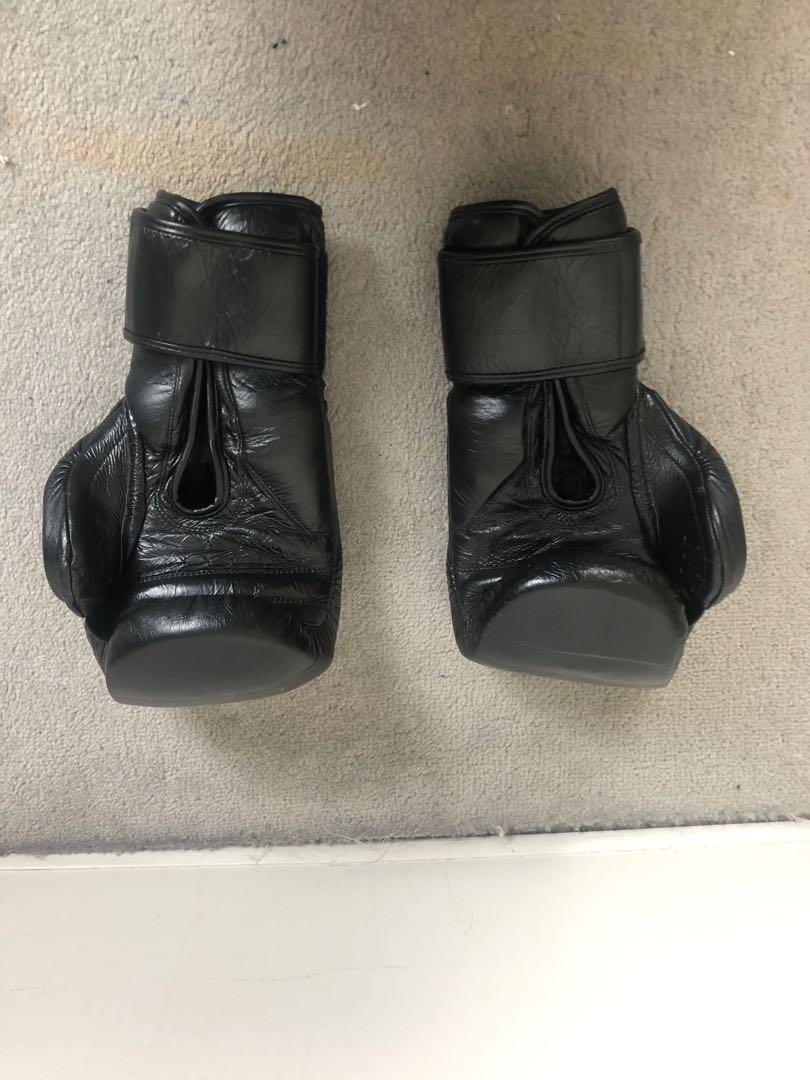 16 oz Black Gorilla Gear Boxing Gloves with Velcro and Hand Wraps