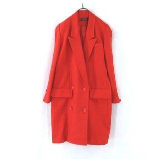 【gimo's迦茉爾】紅色雙排扣毛料長大衣