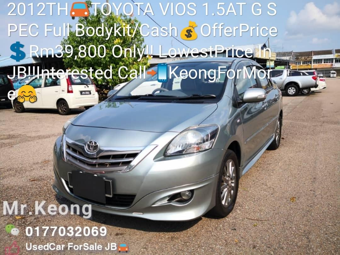 2012TH🚘TOYOTA VIOS 1.5AT G SPEC Full Bodykit/Cash💰OfferPrice💲Rm39,800 Only‼LowestPrice InJB‼ Interested Call📲KeongForMore🤗