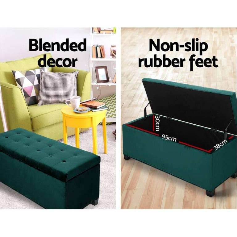 Artiss Storage Ottoman Blanket Box Velvet Foot Stool Rest Chest Couch Toy Green