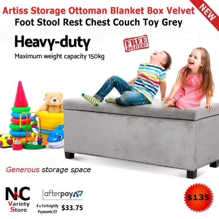 Artiss Storage Ottoman Blanket Box Velvet Foot Stool Rest Chest Couch Toy Grey