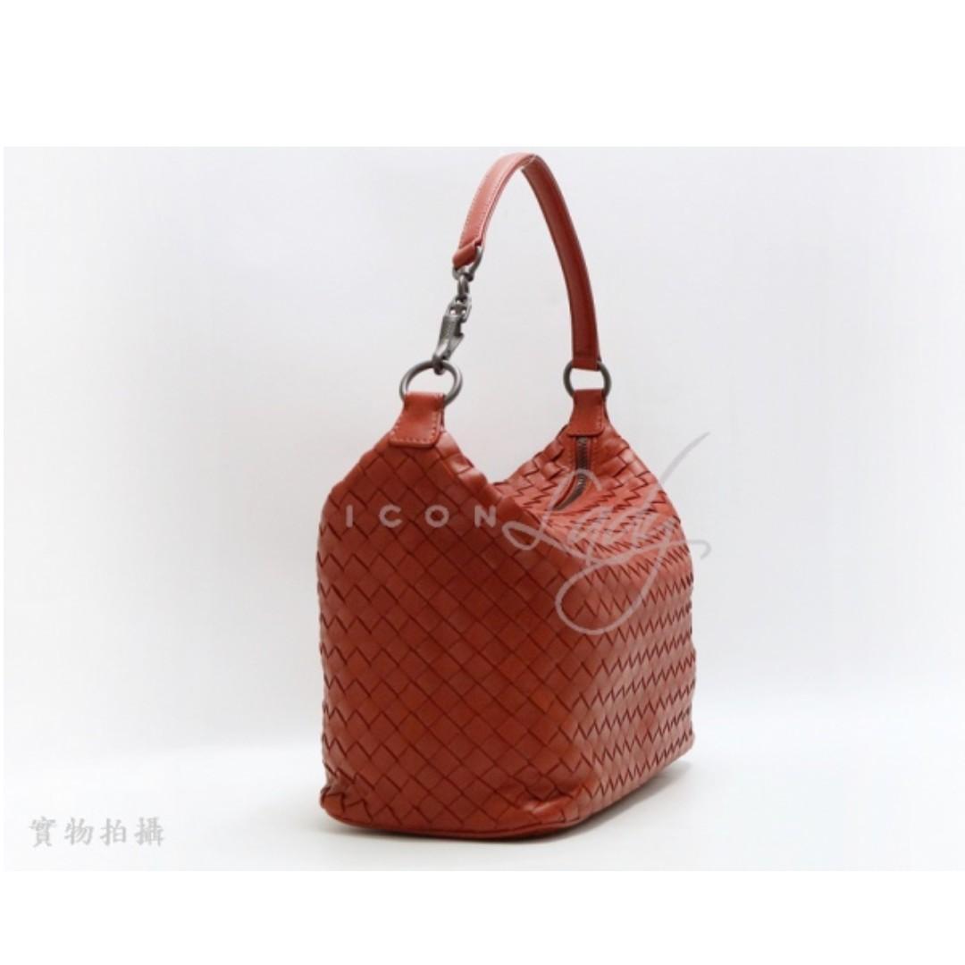 BOTTEGA VENETA BV 239988 磚紅色編織皮革 手挽袋 肩背袋 手袋