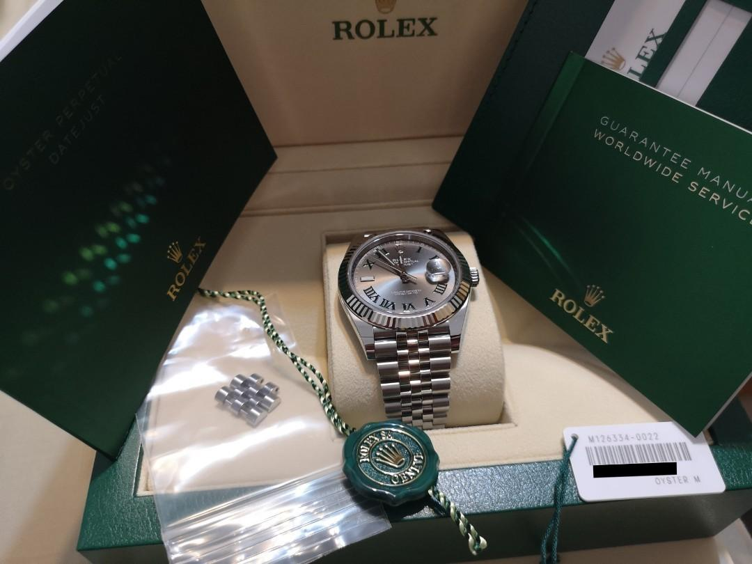 2019 Rolex Datejust 41 | Wimbledon Dial | White Gold & Stainless Steel | 126334 | Like New In Box