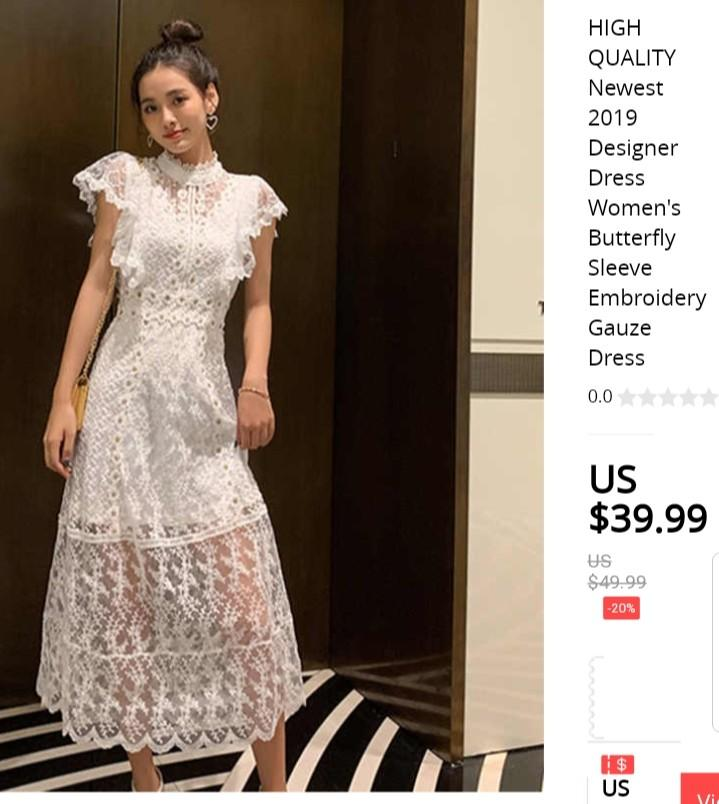 Hq Designer Dress Butterfly Sleeve Embroidery Gauze White Dress For Wedding Event Church Women S Fashion Clothes Dresses Skirts On Carousell,Simple Living Room Designs Indian Style