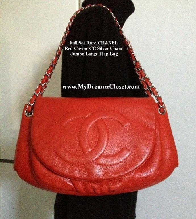 Full Set Rare CHANEL Red Caviar CC Silver Chain Jumbo Large Flap Bag