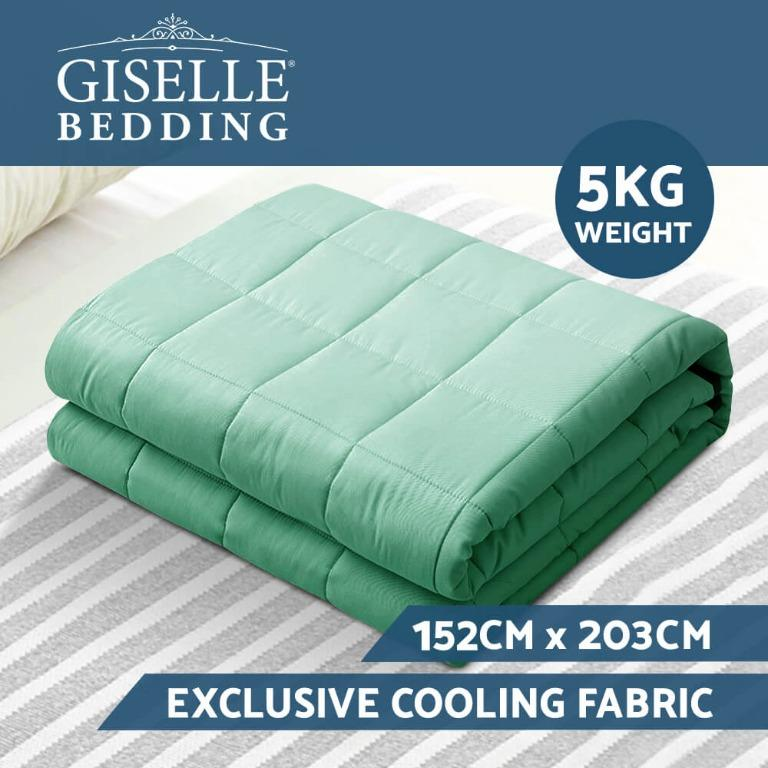 Giselle Weighted Blanket Adult 5KG Gravity Cooling Blankets Deep Relax Summer Aqua