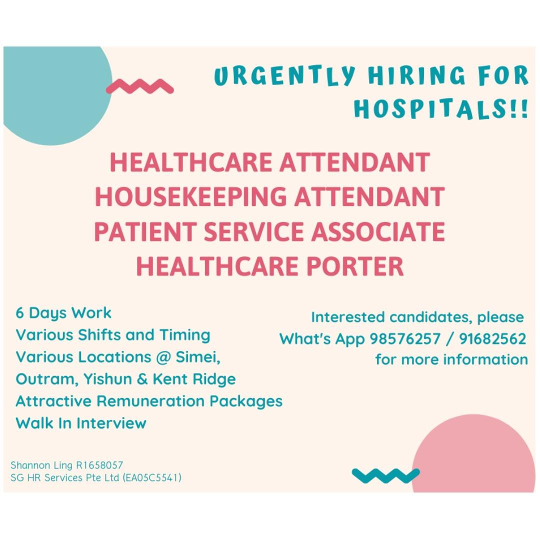 Immediate vacancies available for Hospitals!