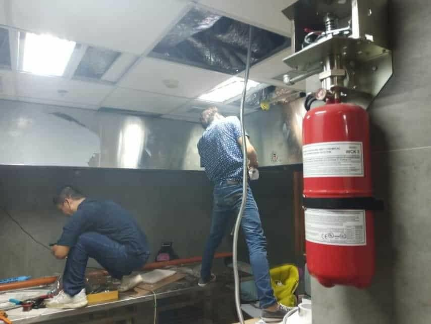 Kitchen hood Fire suppression LPG line installation, Ducting,  and Fre protect