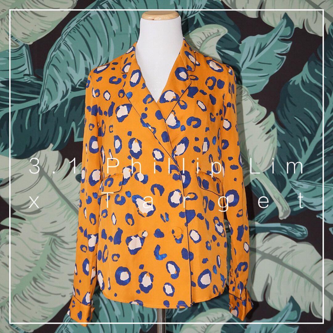 *Like New* 3.1 Phillip Lim For Target Orange Blue Leopard Tuxedo Style Blouse Size XS