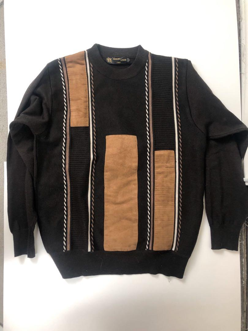 Sergio Louis Italy Brown and Beige Pullover Sweater Size Small Luxury