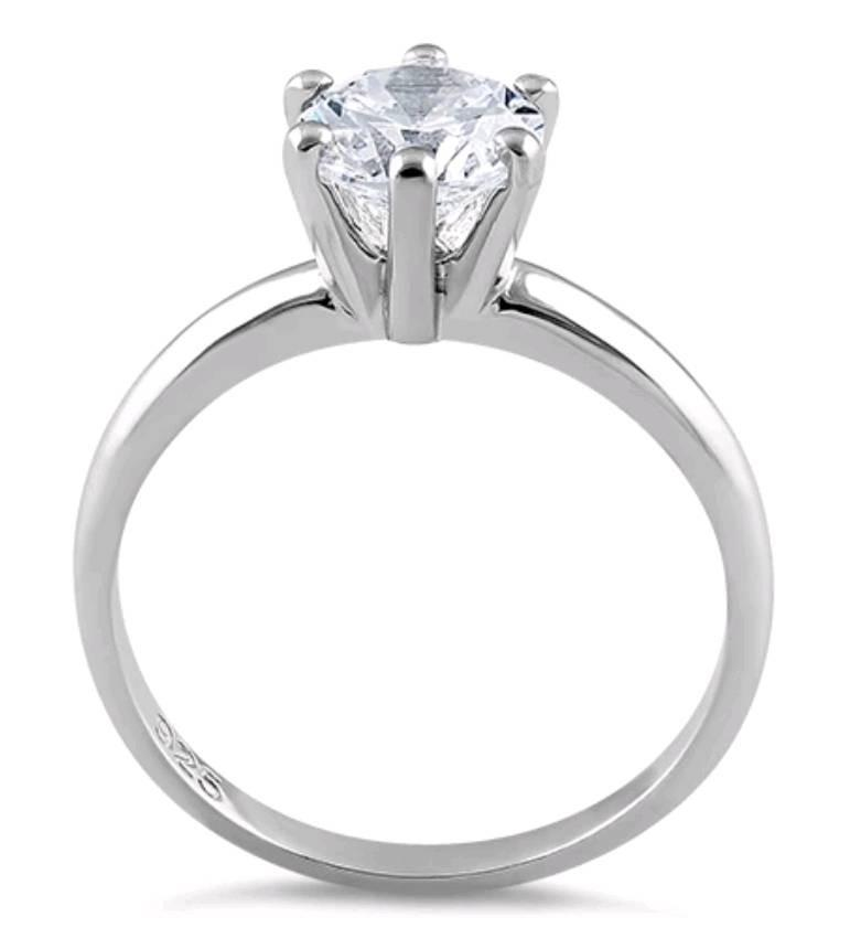 Sterling Silver Clear CZ Solitaire Engagement Ring