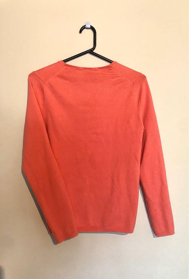 Tommy Hilfiger Women's Small V-Neck Knit Pullover Jumper Sweater Coral Pink Red