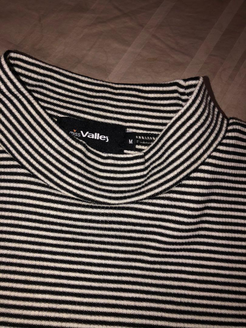 Valleygirl Black and White Striped Turtle Neck Shirt