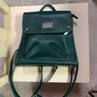 MIRYOKU 專櫃 文青 日系 墨綠色 掀蓋式 拉鍊後背包 #出清2019