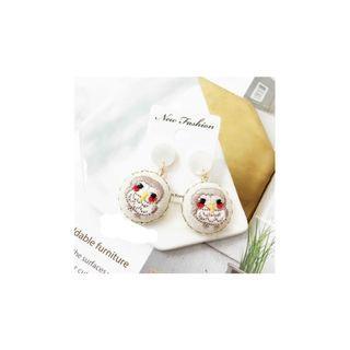 韓國手作刺繡貓頭鷹耳環