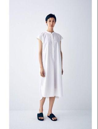 轉賣近全新muji labo 無印良品短袖襯衫洋裝 女 法式袖 灰色