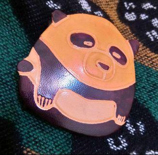 只有1個🎌JP 日本帶回 日系 古著 小羊皮 熊貓造型 方形 扣式 零錢盒 零錢包 復古
