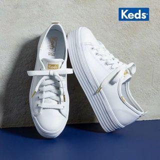KEDS真皮小白鞋厚底松糕鞋秀晶同款百搭學院風